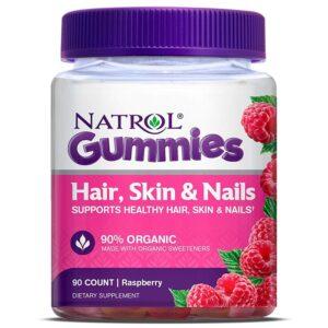 Natrol Hair, Skin and Nails Gummies vaarikamaitselised närimisvitamiinid (90 tk) 1/1